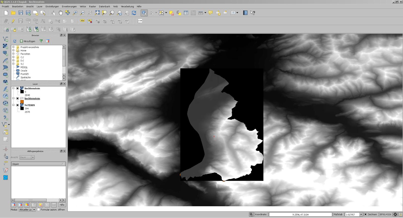 Screenshot aus QGIS mit dem neu aus den Höhendaten ausgeschnittenen Datensatz