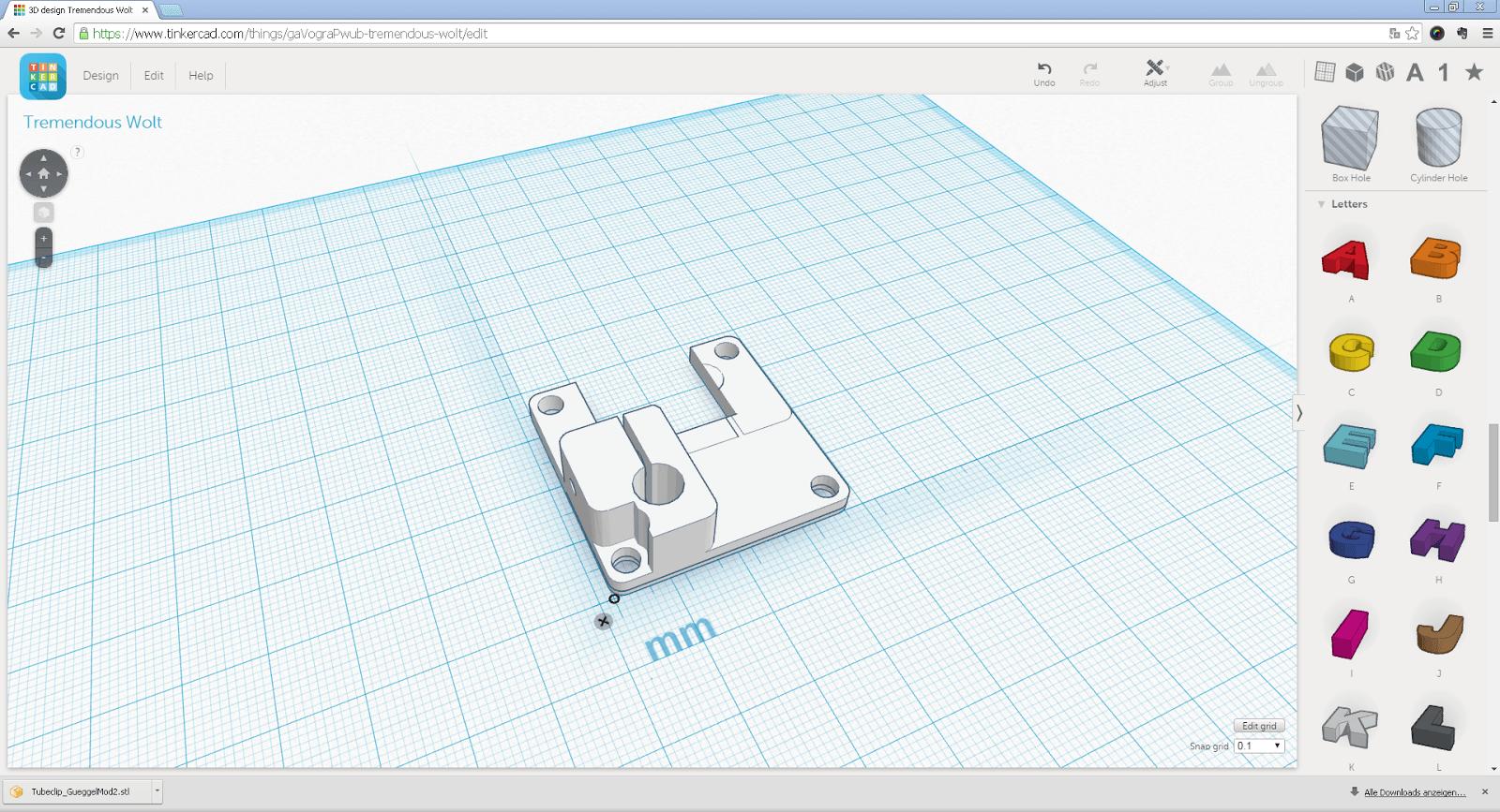 Screenshot der Weiterentwicklung des Bowden Tube Halters in Tinkercad
