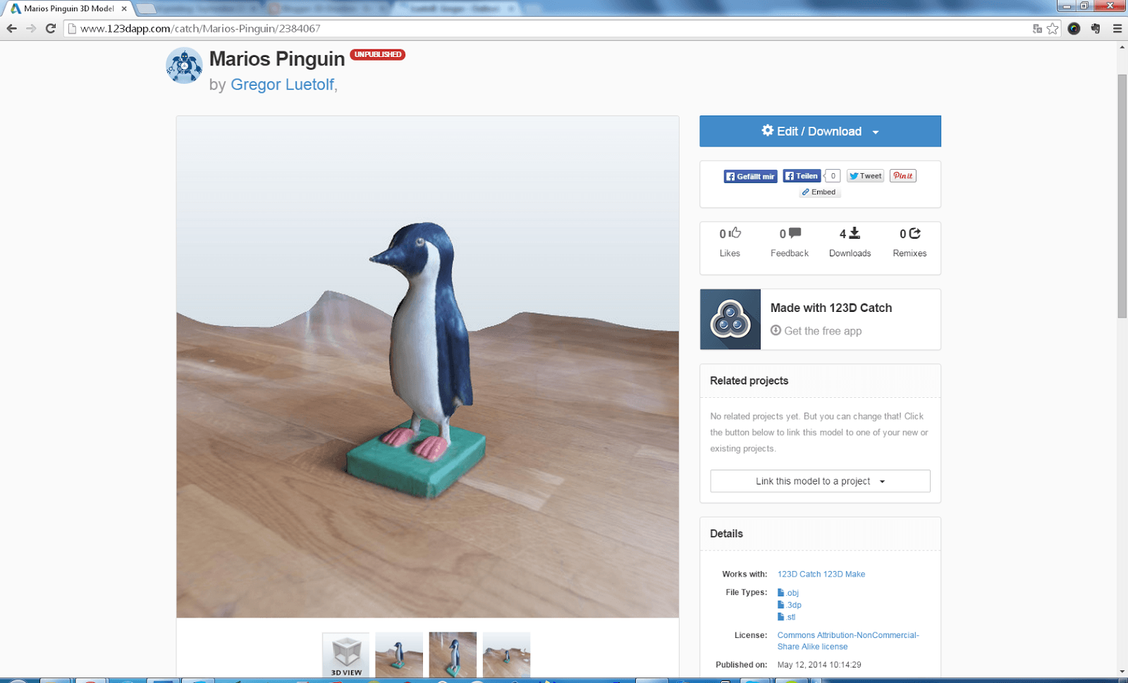 Screenshot des Pinguin-Modells von der 123D Catch Website