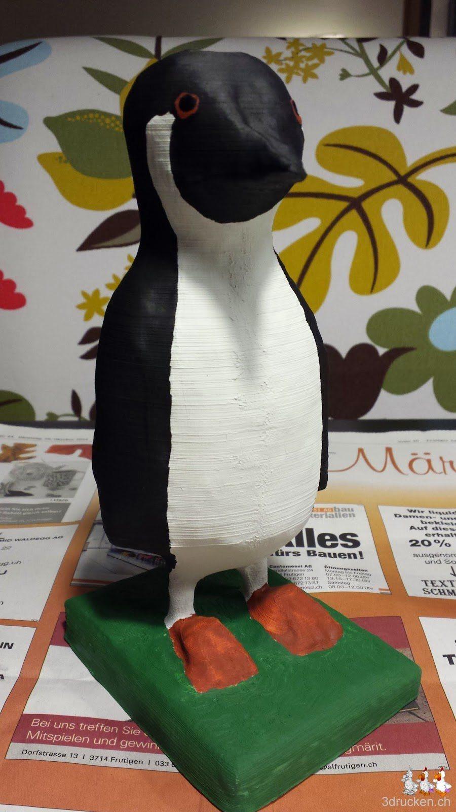 Foto des Pinguins mit schwarz aufgemaltem Augeninneren