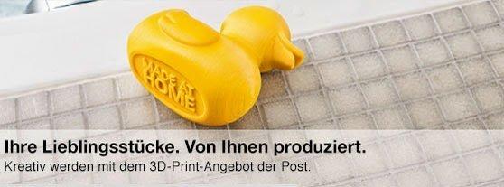 Banner mit Aufschrift: Ihre Lieblingsstücke. Von Ihnen produziert. Kreativ werden mit dem 3D-Print-Angebot der Post.
