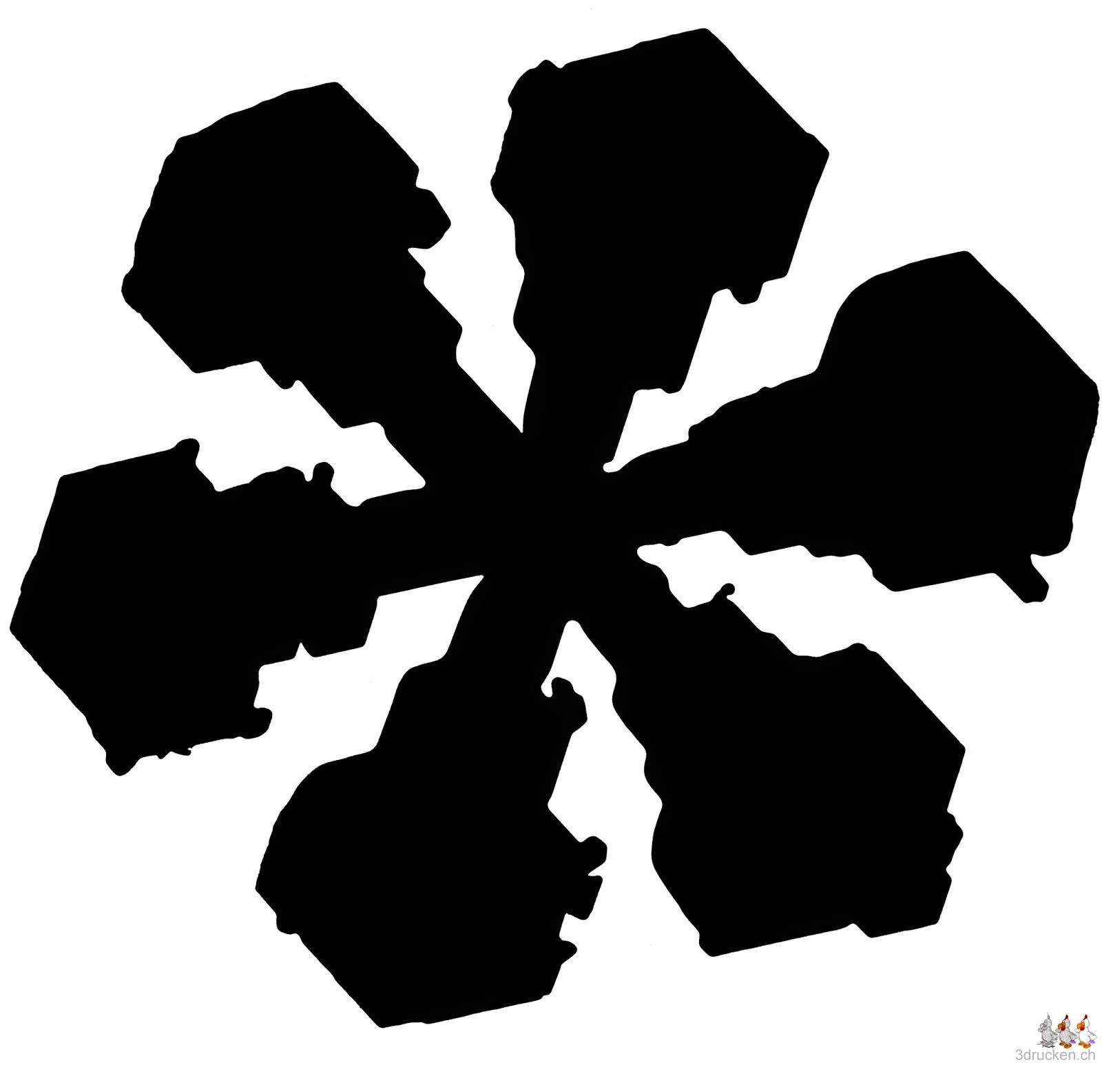Dendritischer Stern mit Verbreiterungen der Astenden in schwarz-weiss