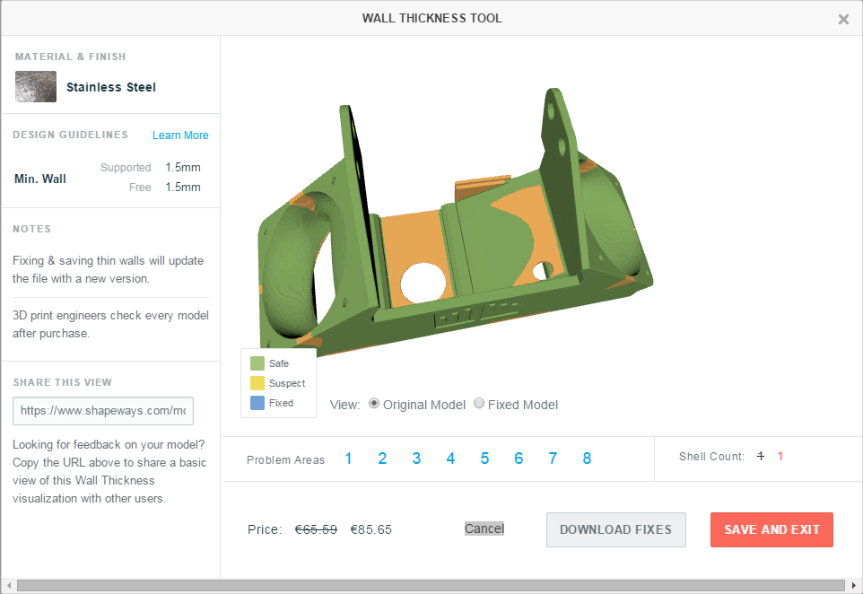 Screenshot der Wandstärkeanalyse durch Shapeways am alternativen Lüftergehäuse für den Ultimaker 2