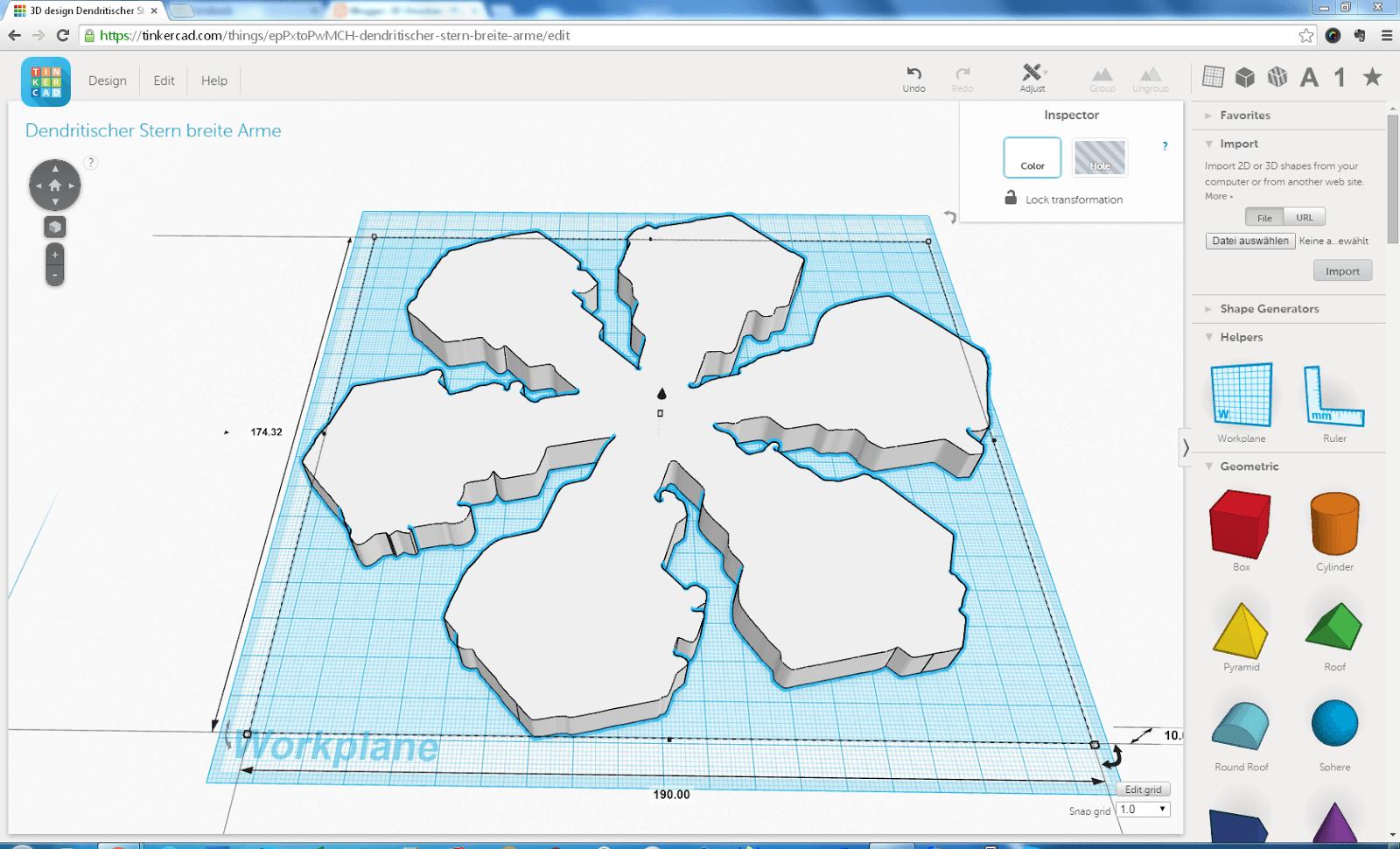 In Tinkercad importierte SVG Form des Dendritischen Sterns mit Verbreiterungen der Astenden