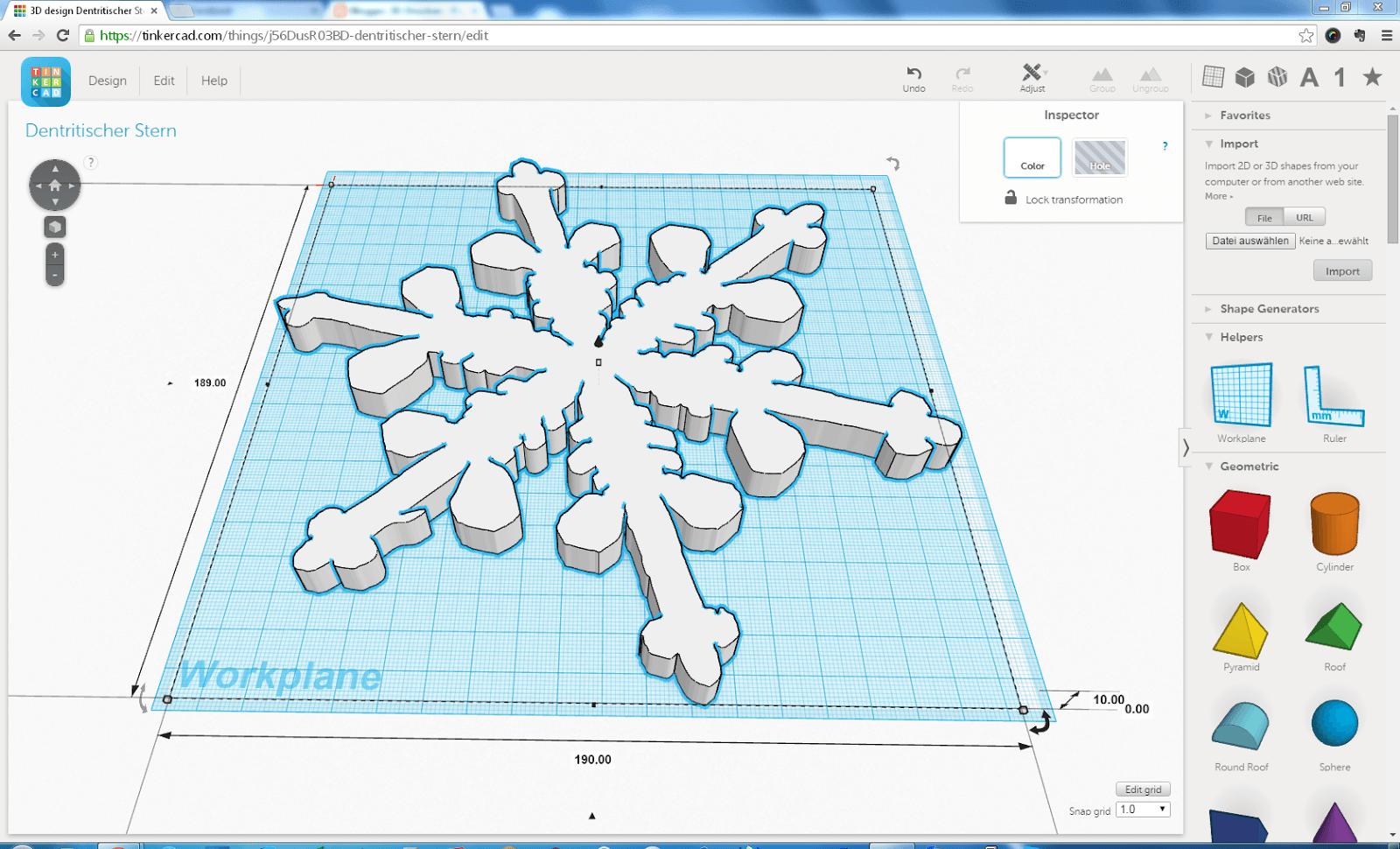 In Tinkercad importierte SVG Form des Dendritischen Sterns