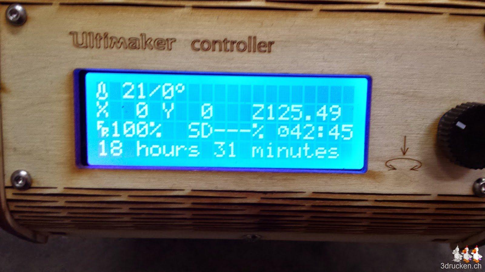 Druckzeit 18h 31min bei 0.08mm Schichten, 20% Füllung und 50mm/s