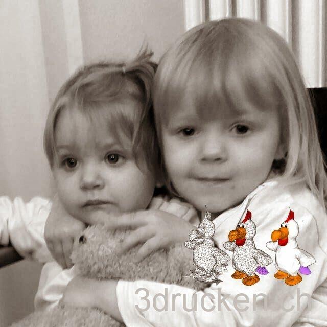 Foto zum 3D-Druck von Elin und Amélie nach der Bearbeitung in Photoshop