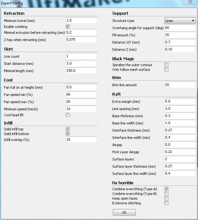 Screenshot der Expert config aus Cura mit erhöhter Minimal extrusion before retracting (mm)