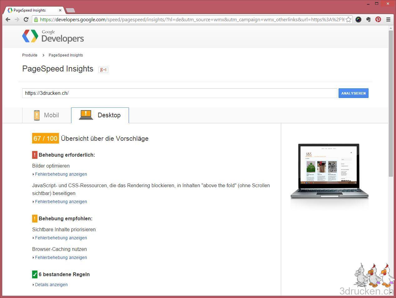 Screenshot von der PageSpeed Messung von 3drucken