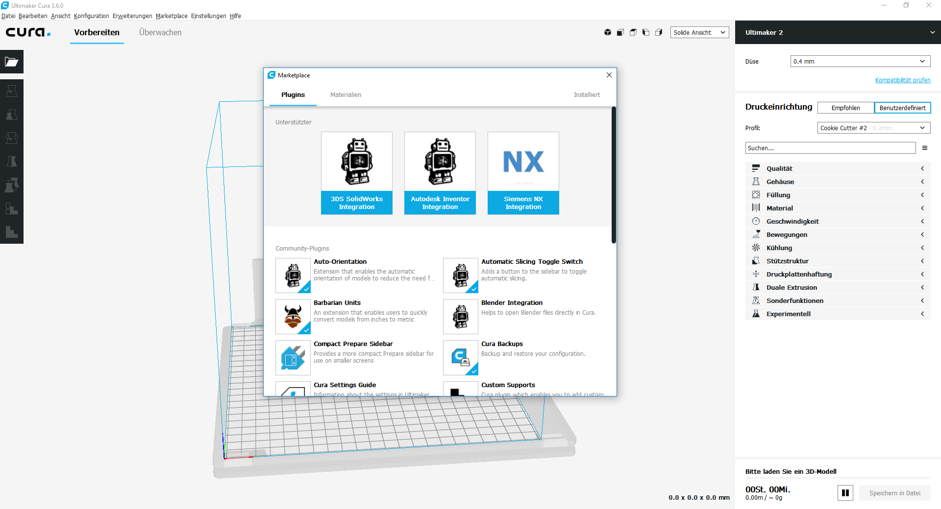 Screenshot des Maketplace in Cura 3.6.0