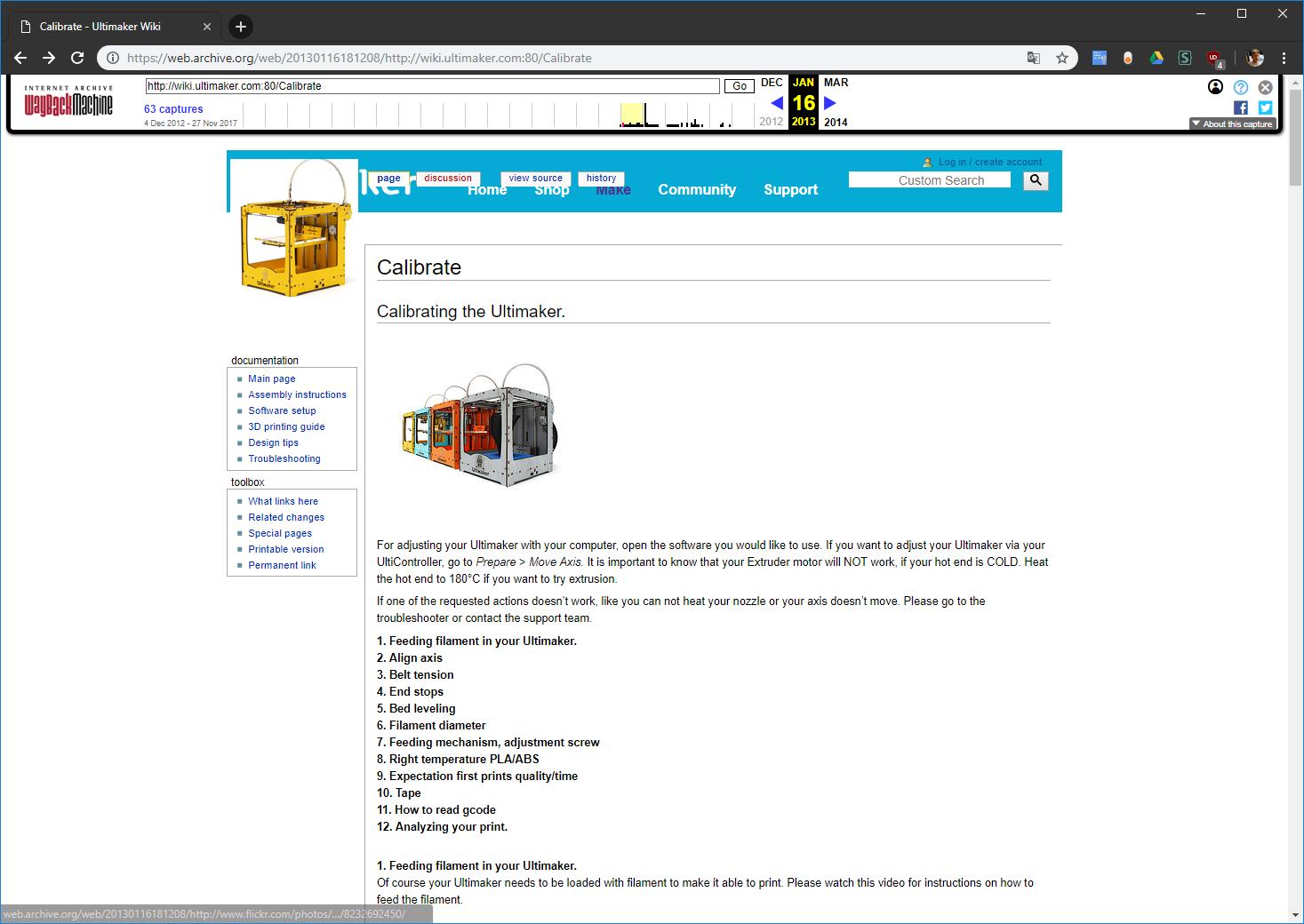 Screenshot der Seite wiki.ultimaker.com vom 16.01.2013
