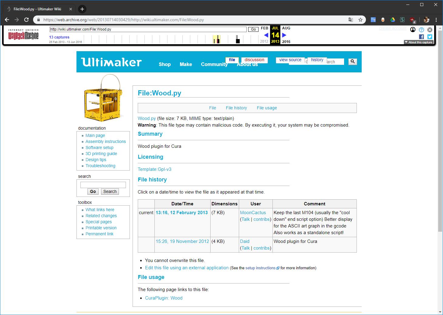Screenshot der Seite wiki.ultimaker.com vom 14.07.2013
