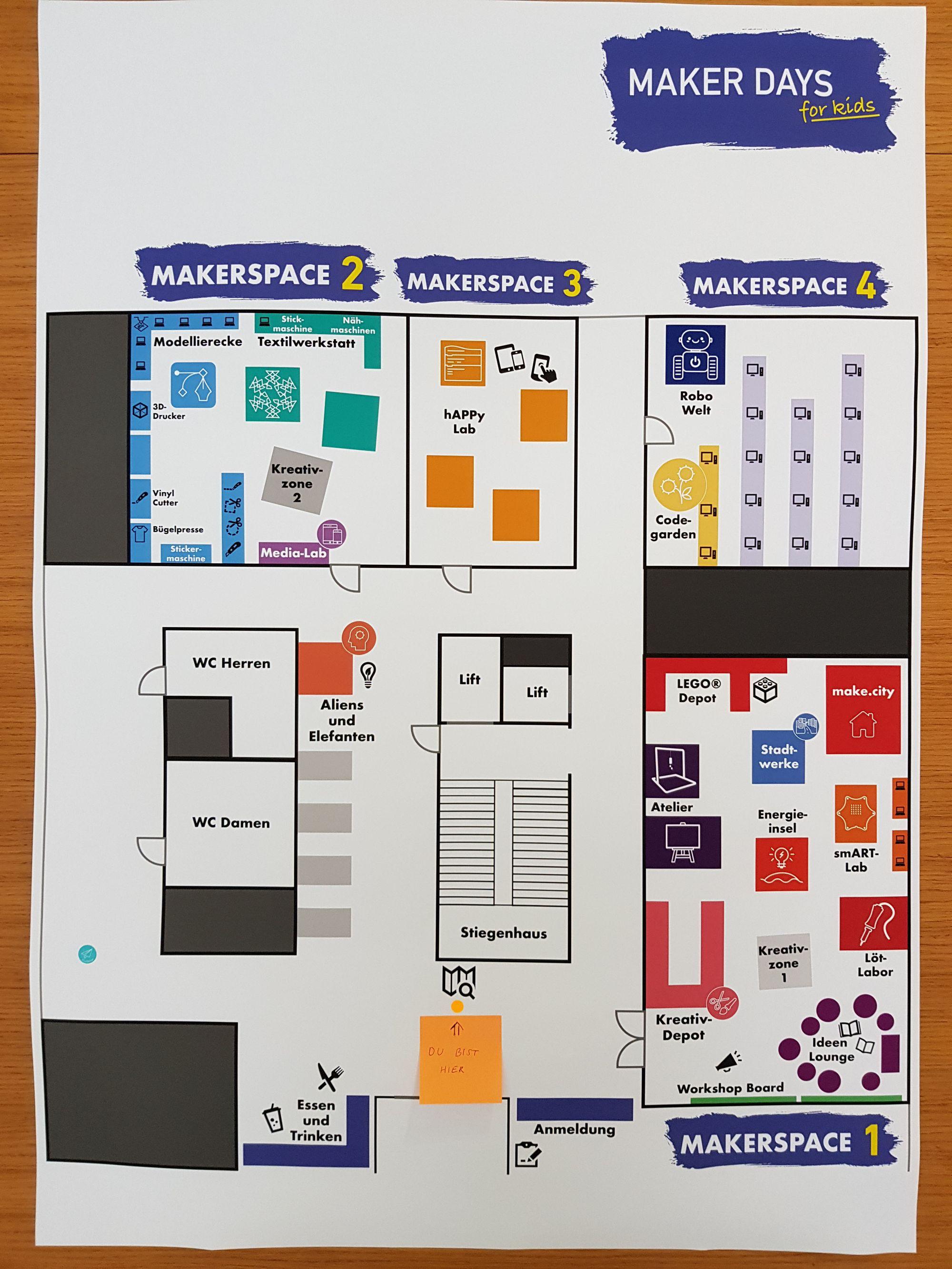 Plakat mit der Übersicht der Räume der MAKER DAYS 2019.