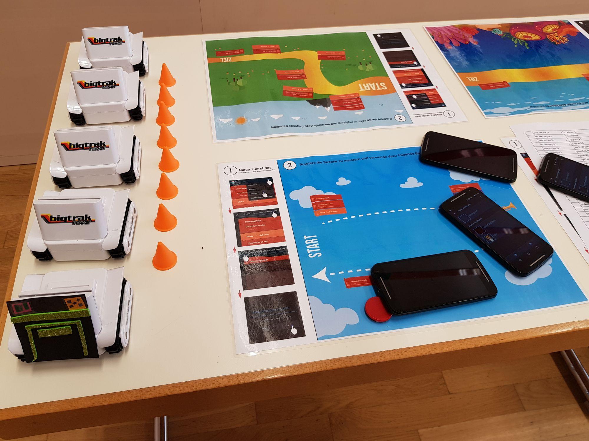 Tisch mit Mobiltelefonen und Anleitungen zur einfachen Programmierung.