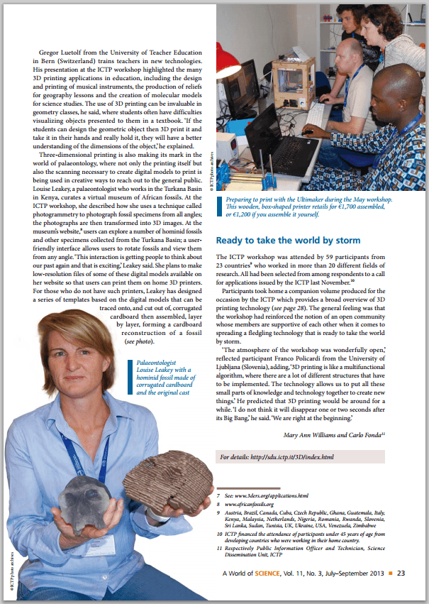 "Artikel im ""A World of Science"" Magazin der UNESCO"