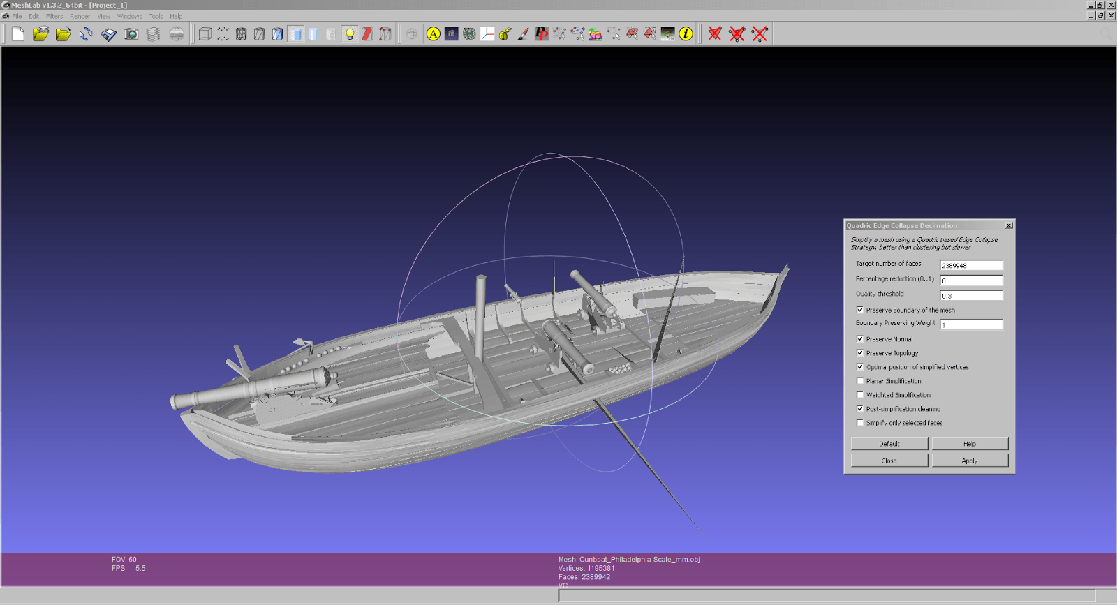 Gunboat Philadelphia von Smithsonian X3D
